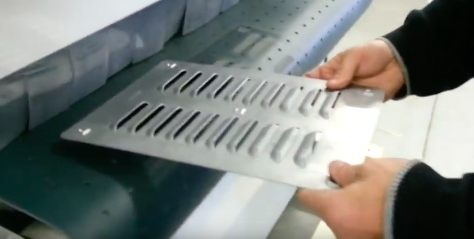 "Deburring 3 Dimensional Part with Louvers Using a 52"" Wide Dual Disc Station"